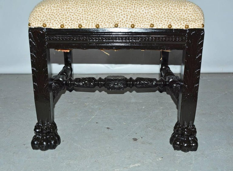 Hand-Carved Carved and Upholstered Hall Chair For Sale