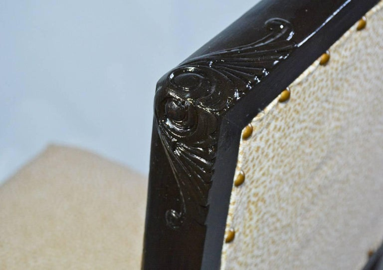 Wood Carved and Upholstered Hall Chair For Sale