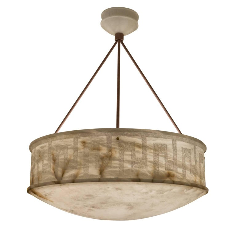 We have saved the best for last in this week's listings, and don't know where to start in describing this large, deep, elegant, carved fixture with Greek-key adorned sides and alabaster canopy which is a mini version of the pendant itself. Recently