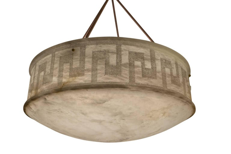 Neoclassical Carved and Veined Large Alabaster Pendant, Sweden, circa 1900 For Sale