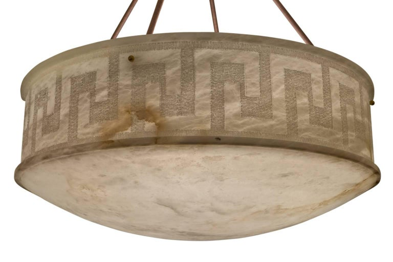 Early 20th Century Carved and Veined Large Alabaster Pendant, Sweden, circa 1900 For Sale