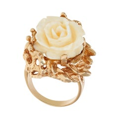 """""""Carved"""" Angel Skin Coral Rose 14k Ring with Branches and Leaves"""