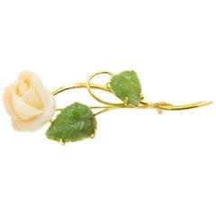 Carved Angel Skin Coral Rose Flower Jade Leaf Yellow Gold Brooch
