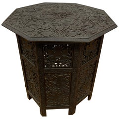 Carved Anglo-Indian Octagonal Fretwork Folding End Table
