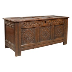 Carved Antique Coffer, English Oak Joined Chest, Trunk, circa 1700