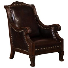 Carved Antique Danish Oak Arm or Club Chair with Leather Upholstery