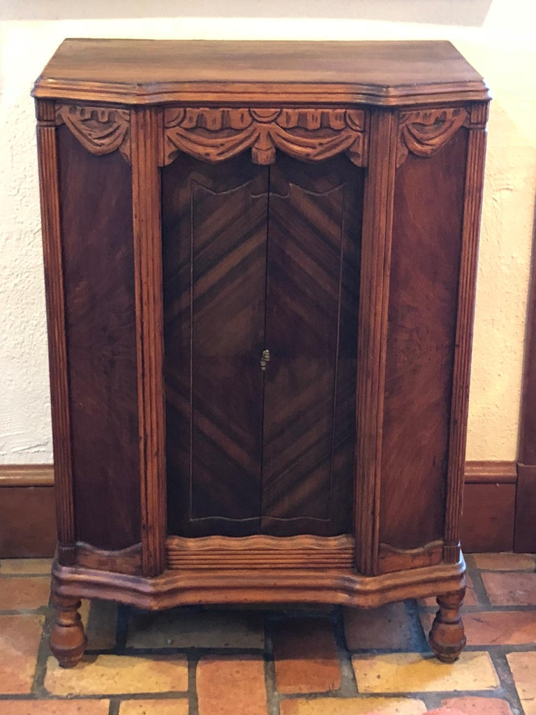Hand-Carved Carved Antique Wooden Cabinet or Bookcase For Sale
