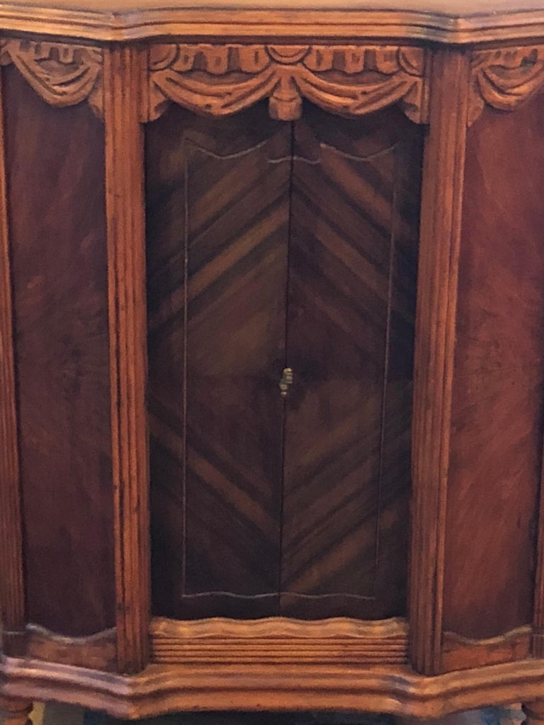 Mid-20th Century Carved Antique Wooden Cabinet or Bookcase For Sale