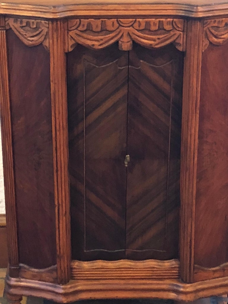 Carved Antique Wooden Cabinet or Bookcase For Sale 1