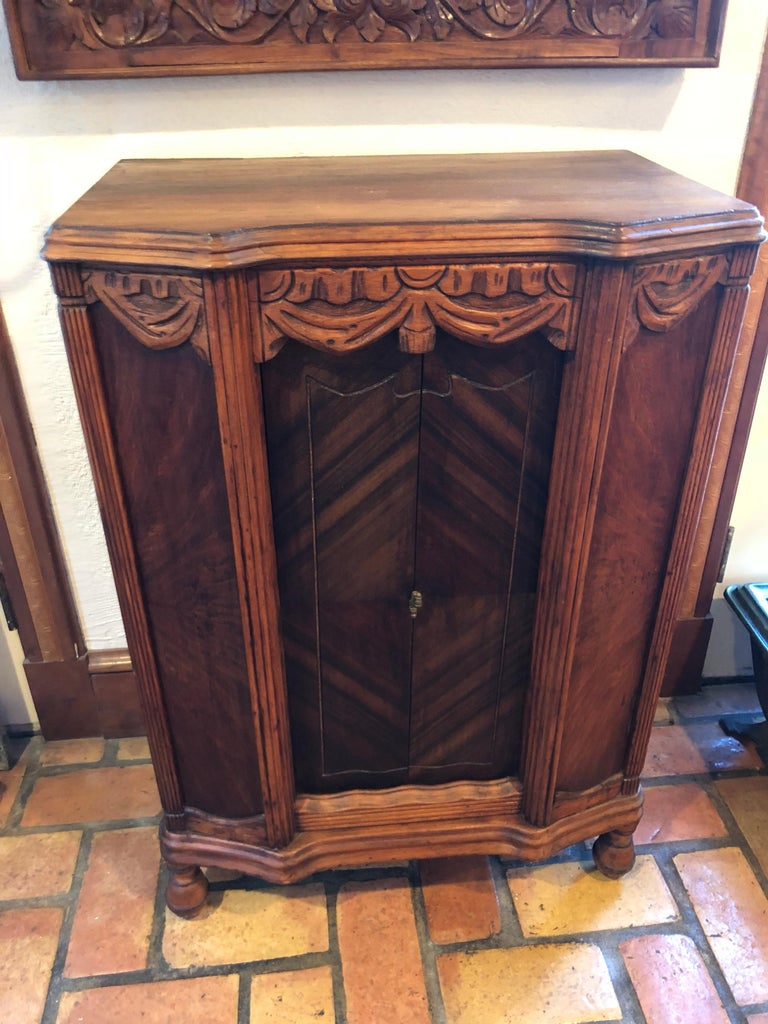 Carved Antique Wooden Cabinet or Bookcase For Sale 4