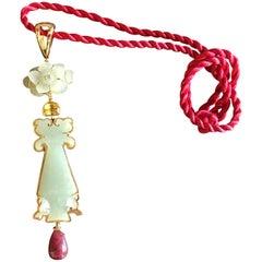 Carved Antiques Imperial Jade Citrine Ruby Drop 18 Karat Gold Pendant