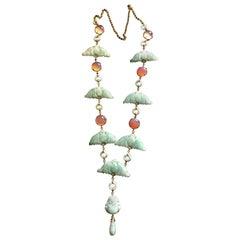 Carved Antiques Jade Rose Quartz 18 Karat Gold Long Necklace