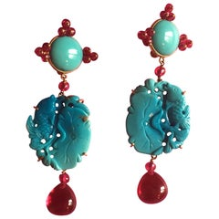 Carved Antiques Turquoise Rubellite 18 Karat Gold Turkfan Earrings