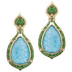 Goshwara Carved Aqua Pear Drop With Tsavourite Earrings