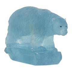 Carved Aquamarine Polar Bear by Gerd Dreher
