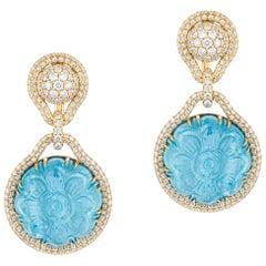 Goshwara Carved Aquamarine And Diamond Earrings