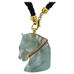 Carved Aquamarine Ruby Diamond 18 Karat Gold Pendant Brooch Pendant Necklace