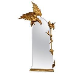 Carved Ar Nouveau Large Wall Mirror with Brass Eagle Descending
