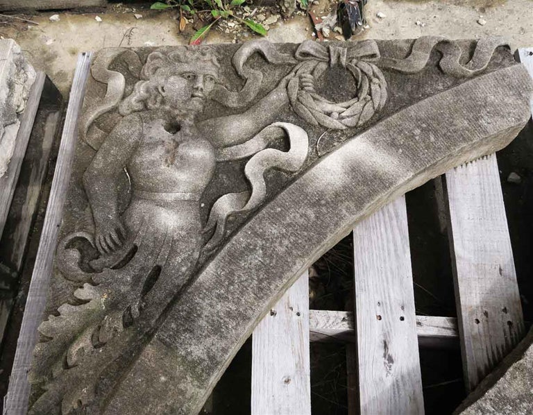 Carved Arched Limestone Window or Door Transom with Carved Figures, circa 1900 For Sale 1