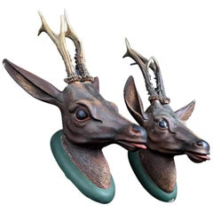 Carved Austrian Roe Deer Heads, circa 1880