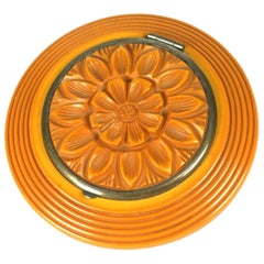 Carved Bakelite Art Deco Compact