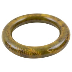 Carved Bakelite Bracelet Bangle Asparagus Green and Black