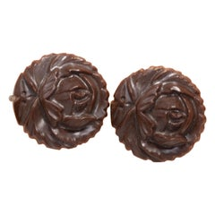 Carved Bakelite Rose Earrings in Dark Brown, Silver Tone Screwback Closure