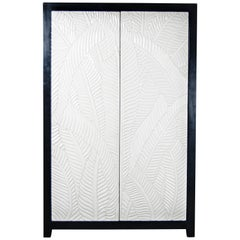 Carved Banana Leaf 2-Door Armoire, Cream Lacquer by Robert Kuo, Limited Edition