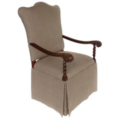 Carved Barley Twist Armchair, Upholstered Seat and Back