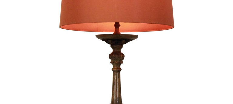 Carved Baroque Walnut Lamp In Good Condition In London, GB