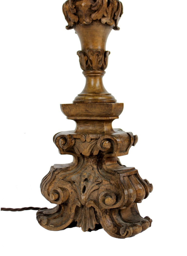 Carved Baroque Walnut Lamp 2