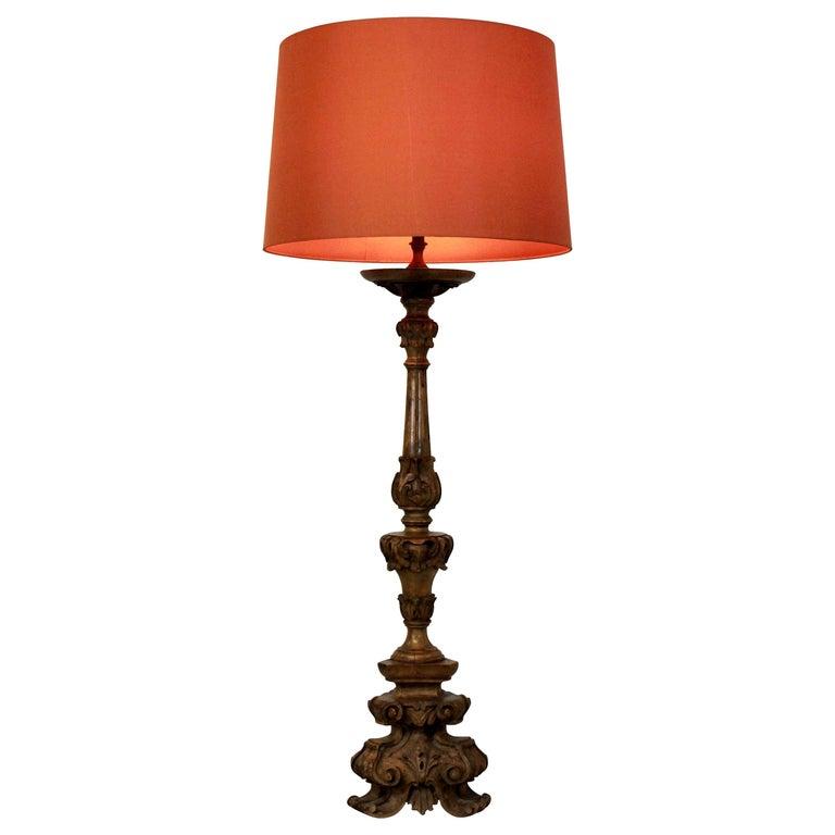 Carved Baroque Walnut Lamp