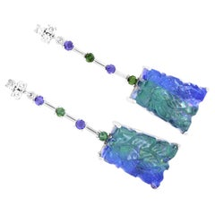 Carved Bicolor Tanzanite Green Tourmaline Iolite Diamond Drop Earring 14K Gold
