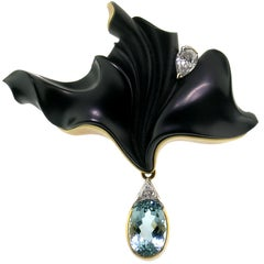 Carved Black Chalcedony Sculpture and Aquamarine 18 Karat Enhancer and Brooch