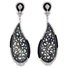 24.25 carats Carved Jade Diamond 18 Karat Gold Paisley Earrings