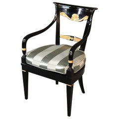 Carved Black Lacquer and Gilded French Regency Arm Desk Chair, circa 1960