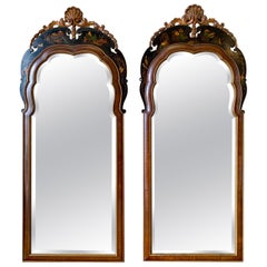 Carved Black Lacquer and Gold Chinoiserie Mirrors, Pair