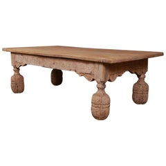 Carved Bleached Oak Coffee Table