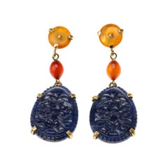 Carved Blu Sapphire, Amber 18 Karat Gold Earrings