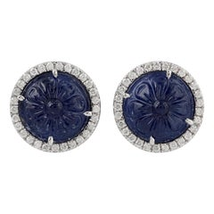 Carved Blue Sapphire Diamond 18 Karat Gold Stud Earrings