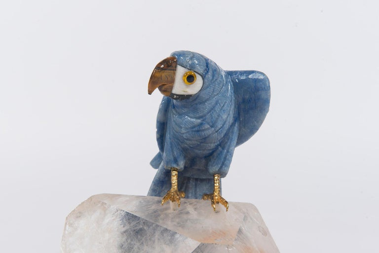 Carved Blue Stone Parrot on Quartz Sculpture In Good Condition For Sale In Houston, TX