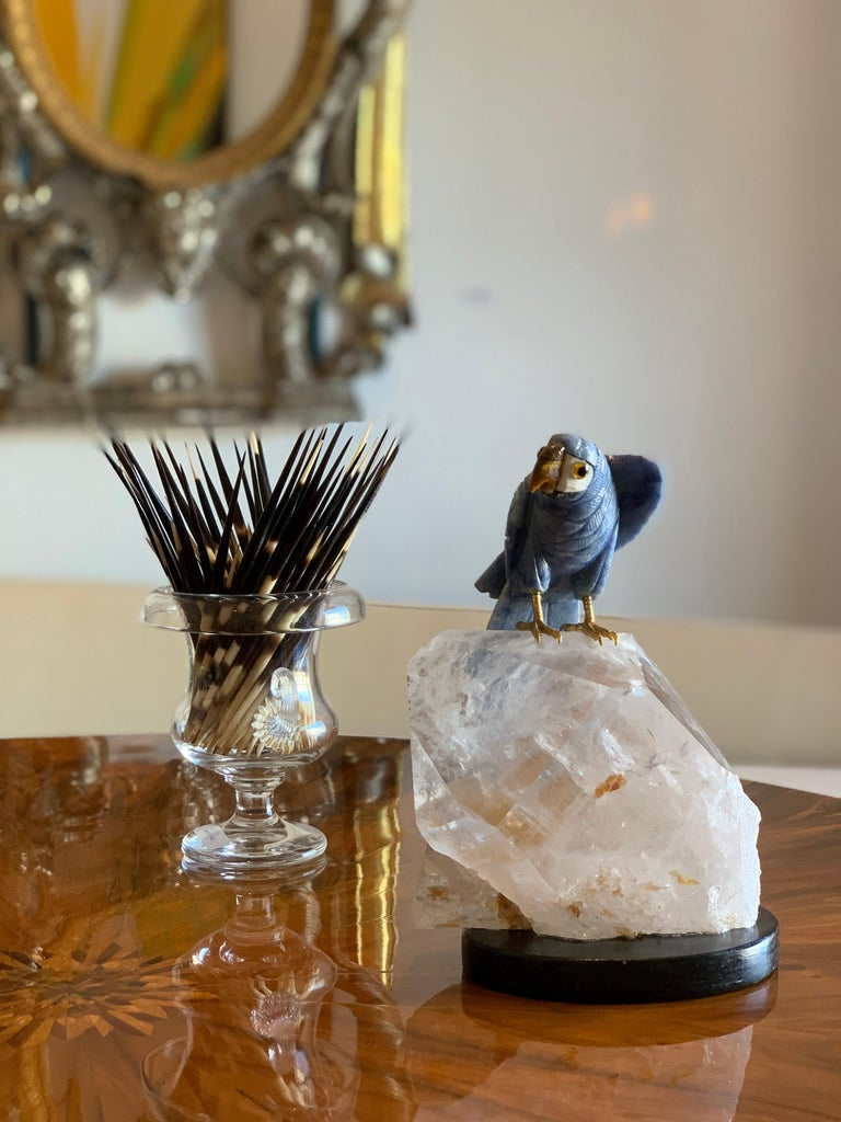 20th Century Carved Blue Stone Parrot on Quartz Sculpture For Sale