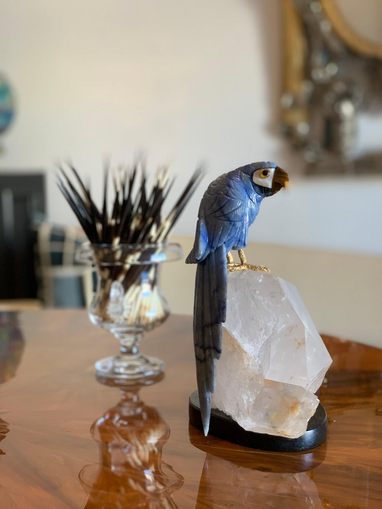 Carved Blue Stone Parrot on Quartz Sculpture For Sale 1