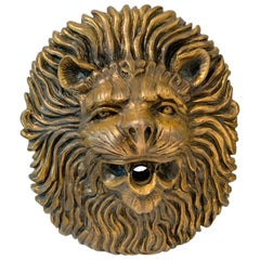 Carved Brass Lion Fountain Head