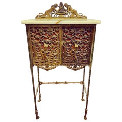 Carved Bronze French Louis XVI Marble-Top Cabinet Commode Bar Server