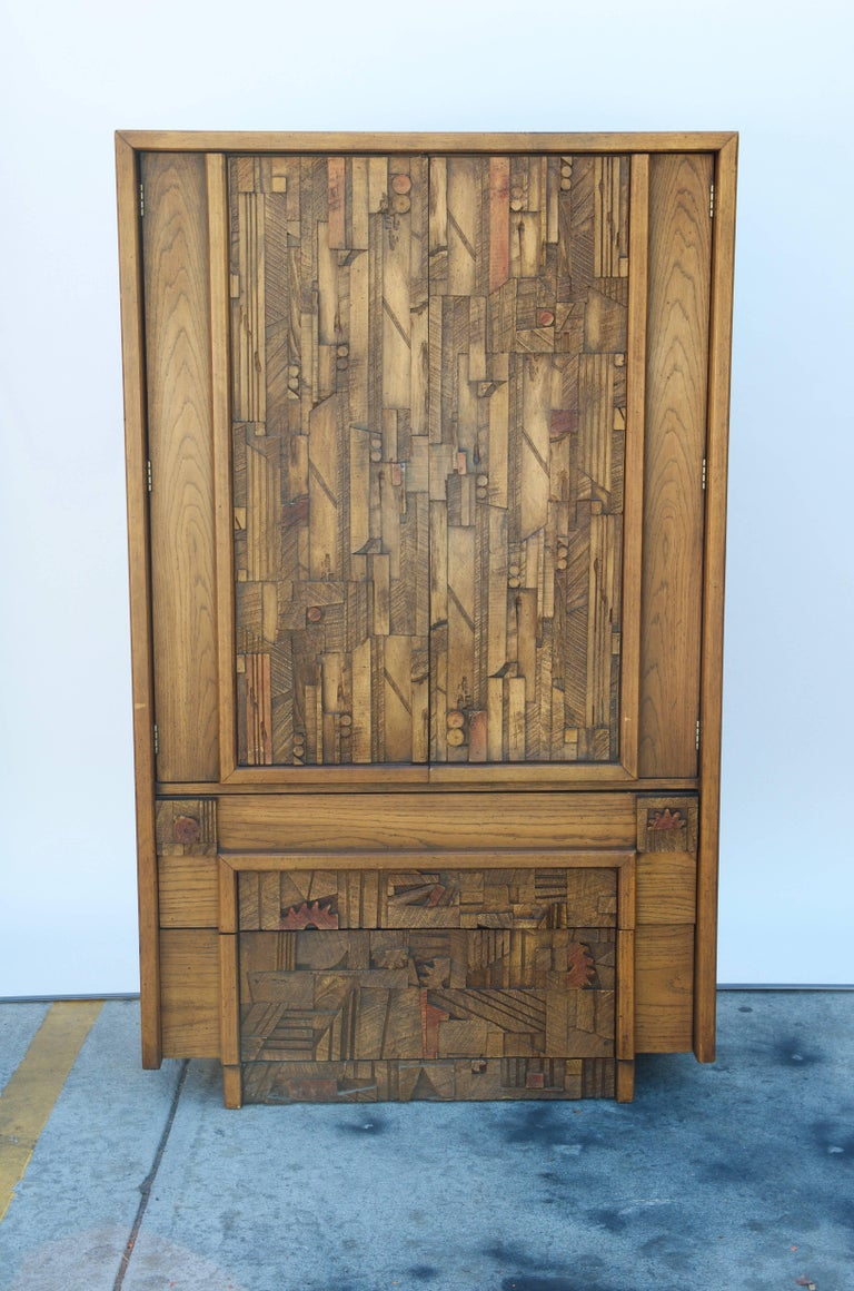 American Carved Brutalist Armoire by Lane For Sale