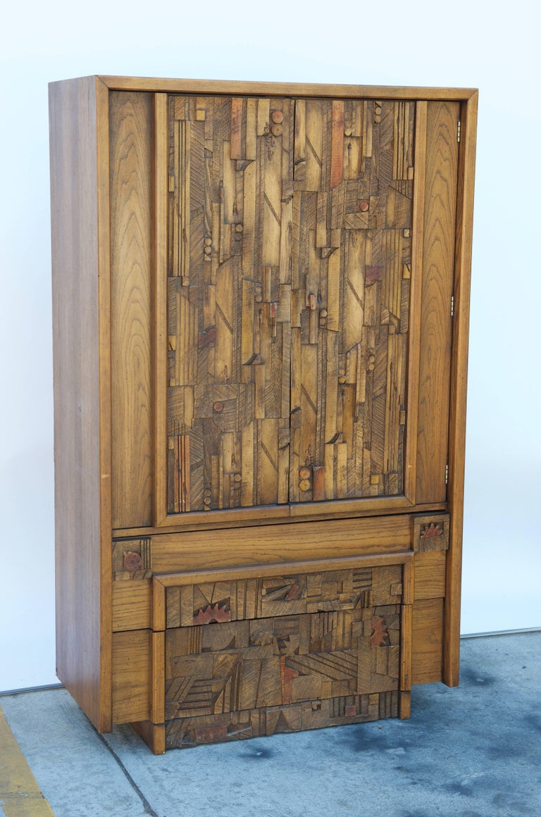 Carved Brutalist Armoire by Lane For Sale 3