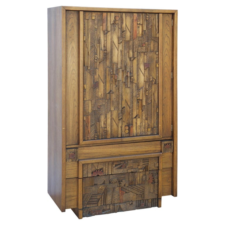 Carved Brutalist Armoire by Lane For Sale