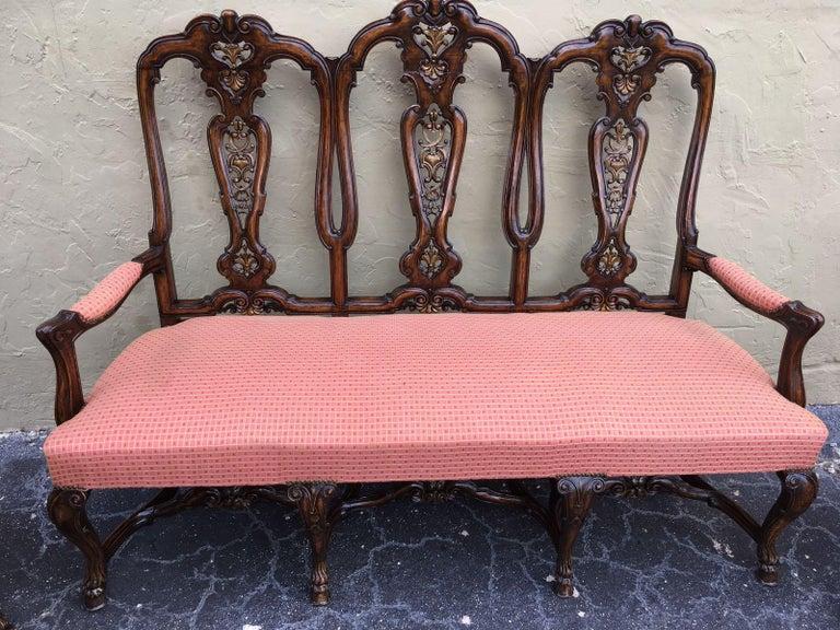 Carved Burl Walnut Queen Anne Style Three Seats Sofa, circa 1940 2