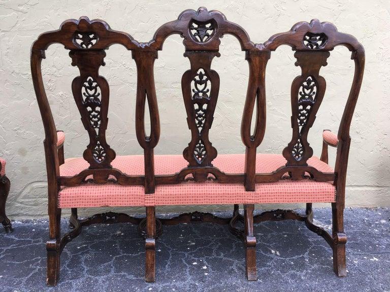 Carved Burl Walnut Queen Anne Style Three Seats Sofa, circa 1940 4